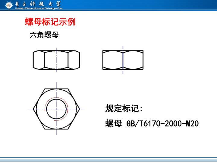 螺母标记示例