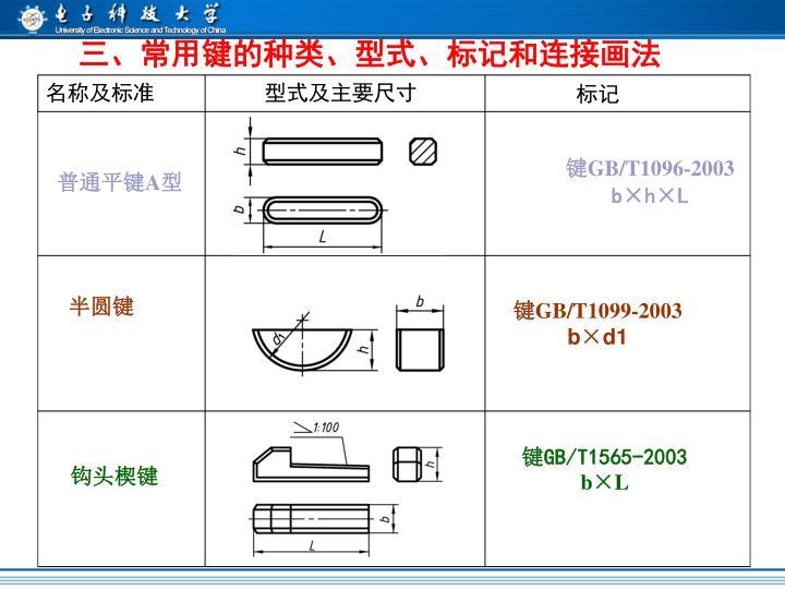 三、常用键的种类、型式、标记和连接画法