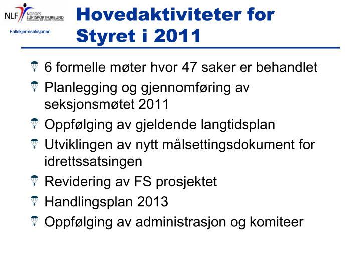 Hovedaktiviteter for Styret i 2011