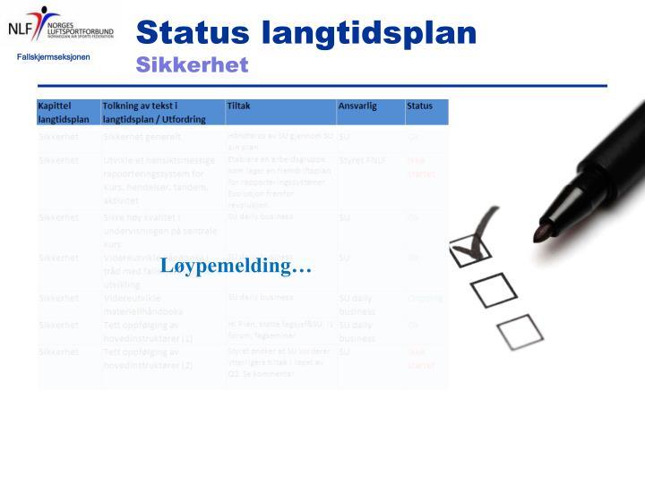 Status langtidsplan