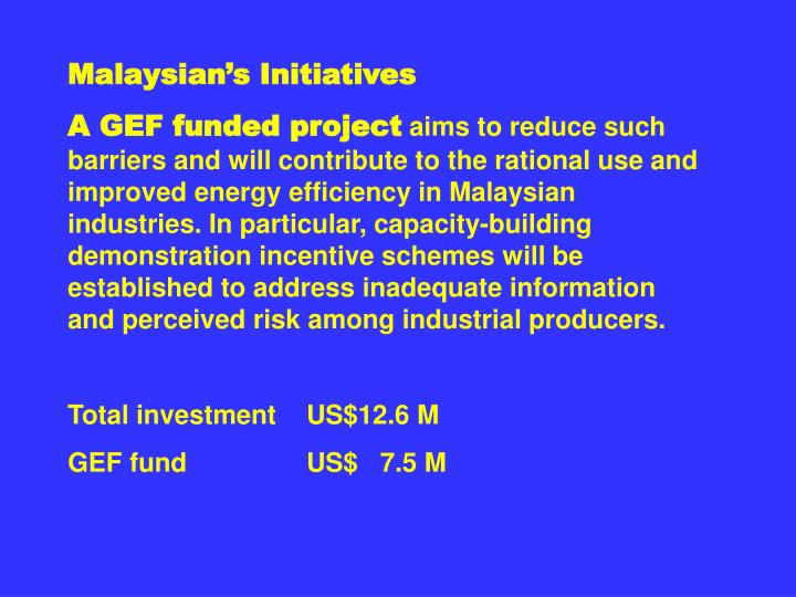 Malaysian's Initiatives