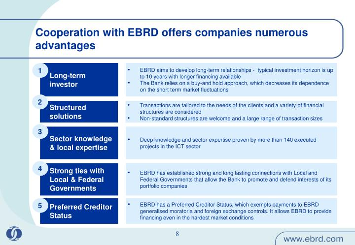 Cooperation with EBRD offers companies numerous advantages