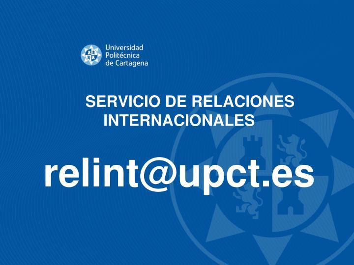SERVICIO DE RELACIONES INTERNACIONALES