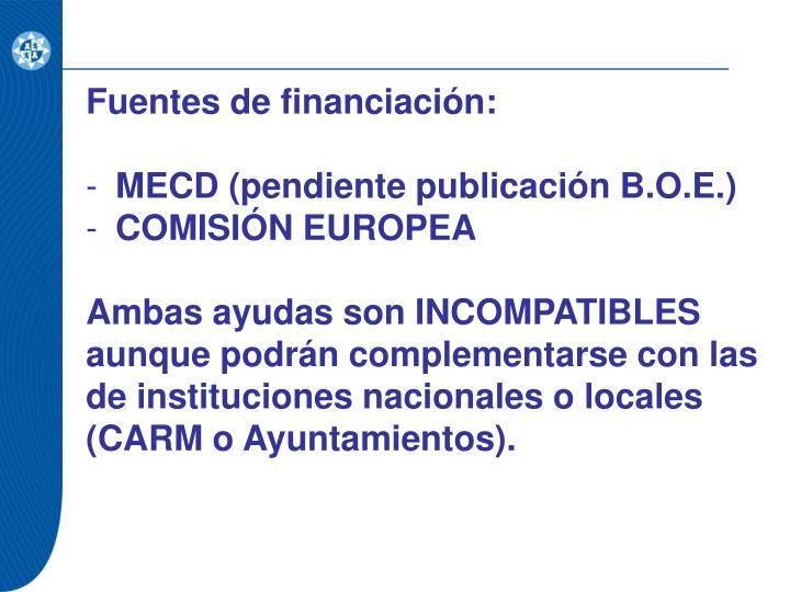 Fuentes de financiación: