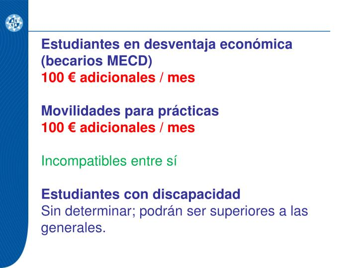 Estudiantes en desventaja económica (becarios MECD)