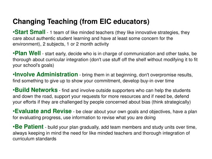 Changing Teaching (from EIC educators)