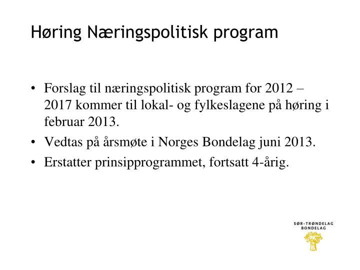 Høring Næringspolitisk program