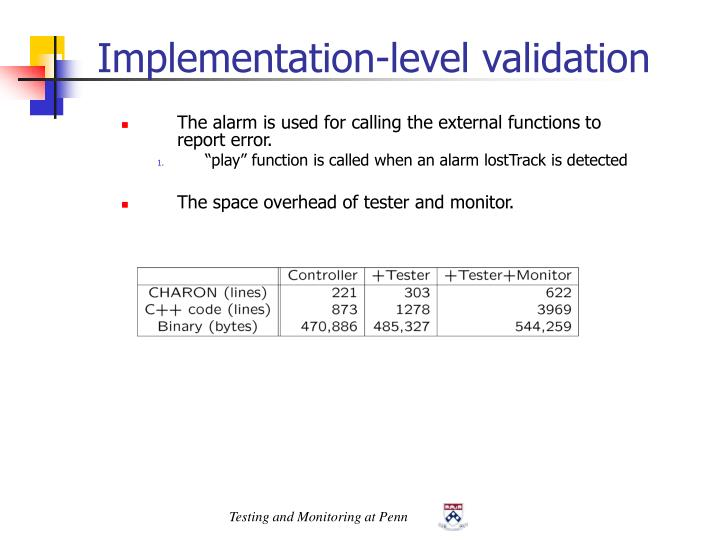 Implementation-level validation
