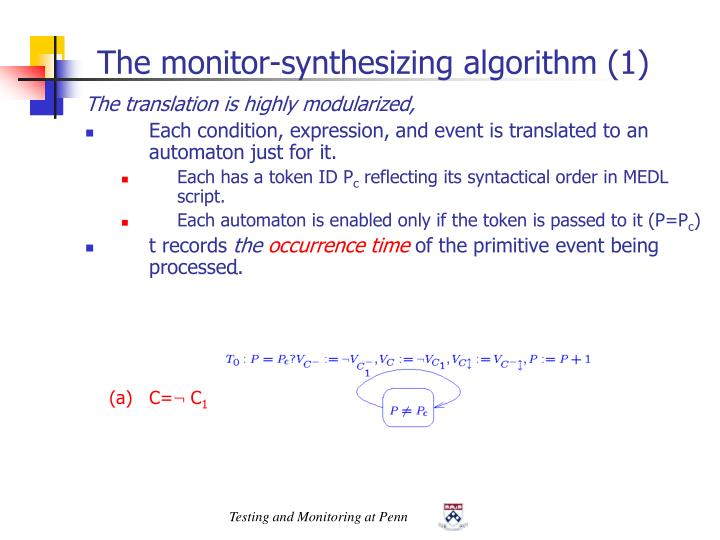 The monitor-synthesizing algorithm (1)
