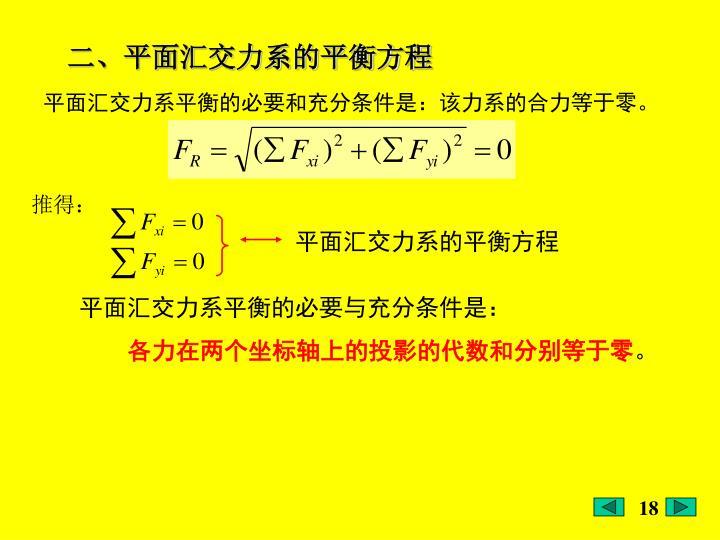 平面汇交力系的平衡方程