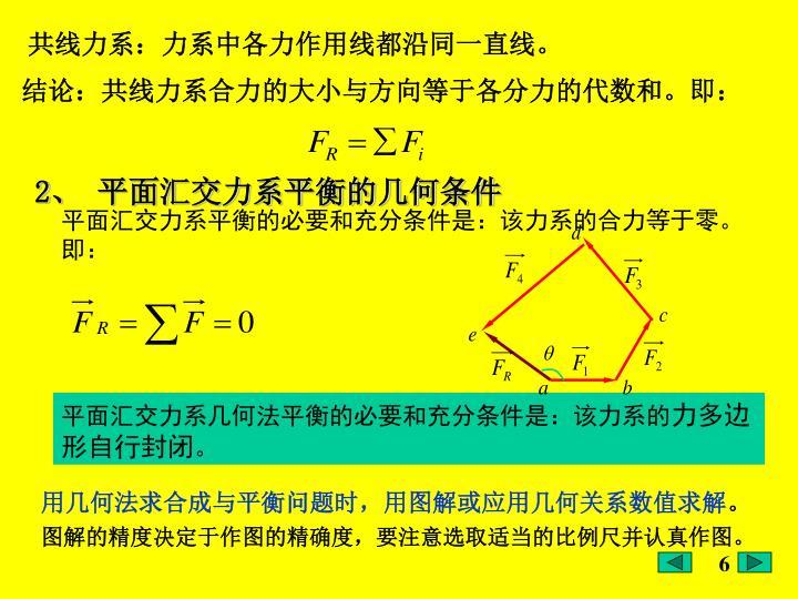共线力系:力系中各力作用线都沿同一直线。