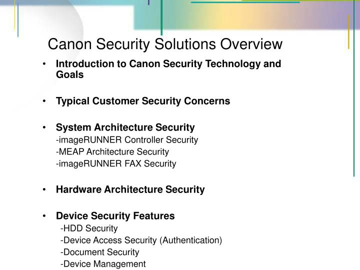 Canon security solutions overview