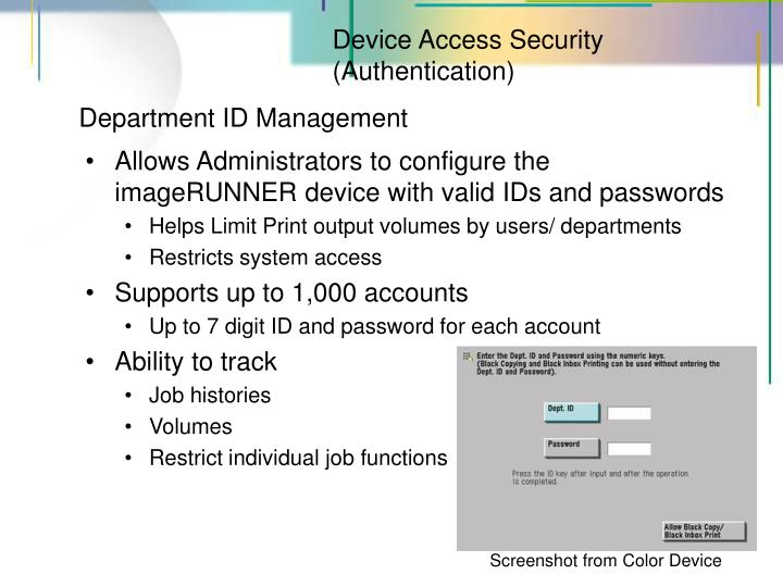 Device Access Security (Authentication)