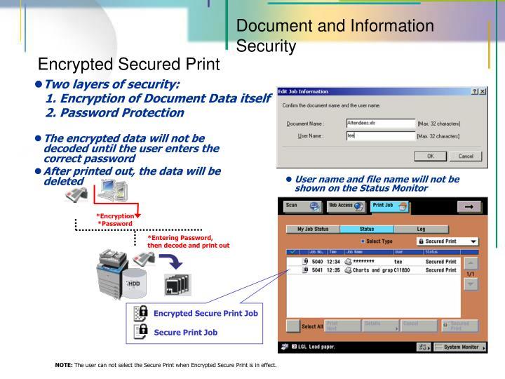 Encrypted Secure Print Job