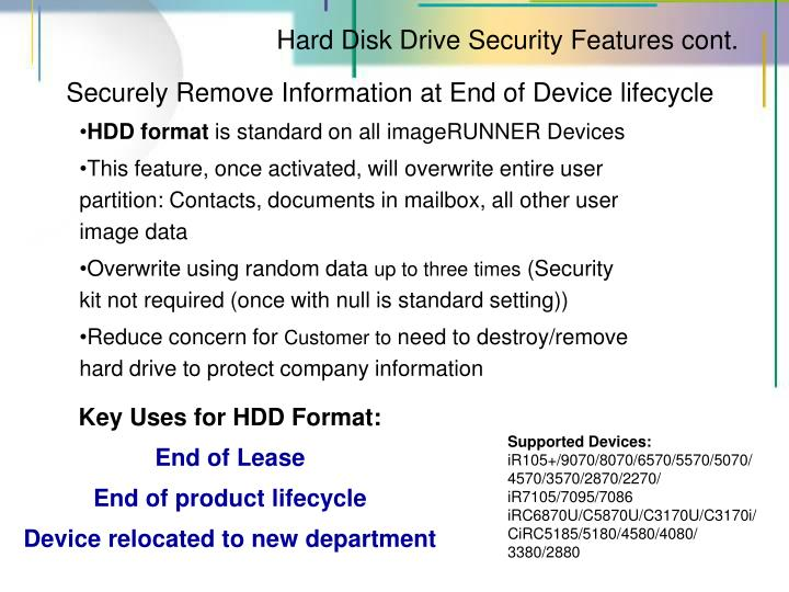 Hard Disk Drive Security Features cont.