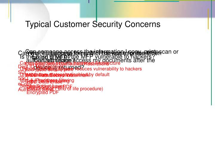 Typical Customer Security Concerns