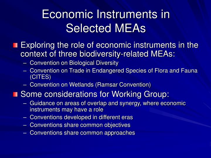Economic instruments in selected meas