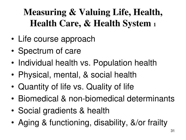 Measuring & Valuing Life, Health, Health Care, & Health System