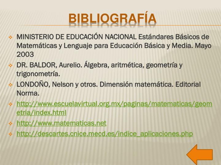 MINISTERIO DE EDUCACIÓN NACIONAL Estándares Básicos de Matemáticas y Lenguaje para Educación Básica y Media. Mayo 2003