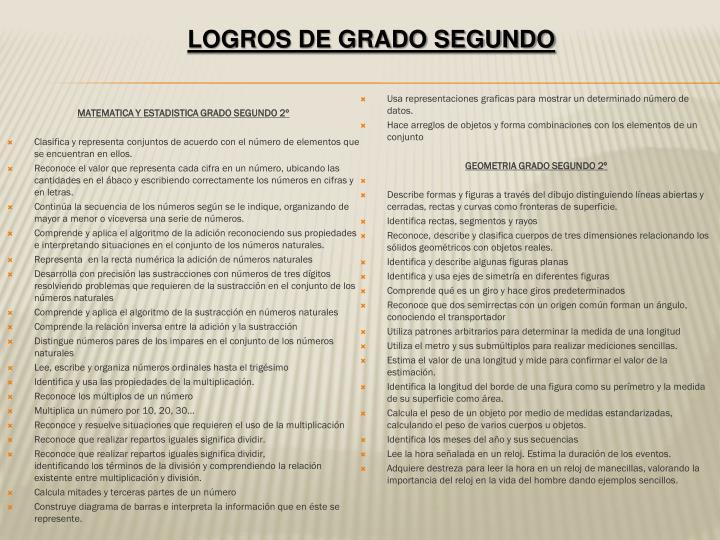 MATEMATICA Y ESTADISTICA GRADO SEGUNDO 2º