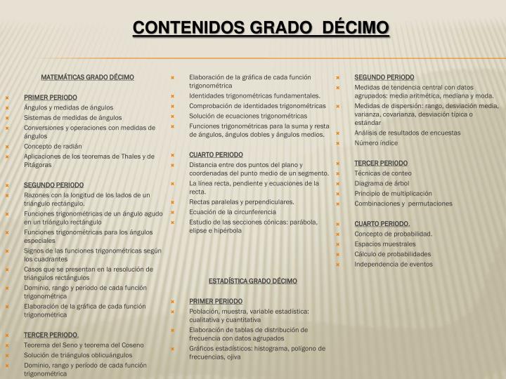 MATEMÁTICAS GRADO DÉCIMO