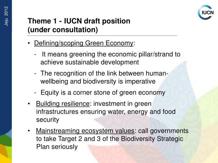 Theme 1 - IUCN draft position