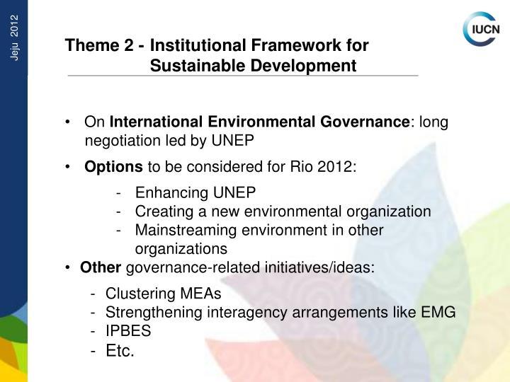 Theme 2 - Institutional Framework for Sustainable Development