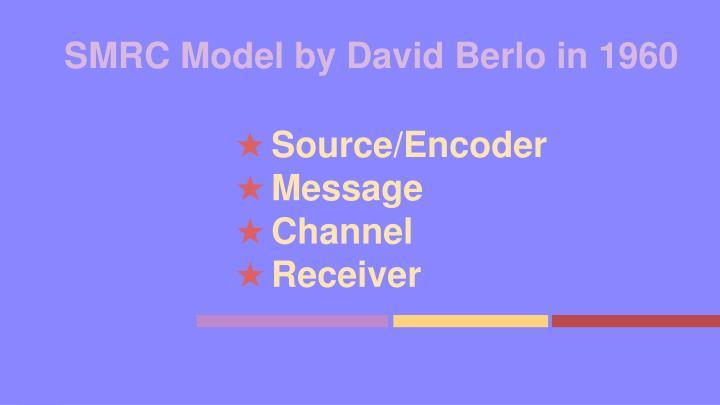 SMRC Model by David Berlo in 1960