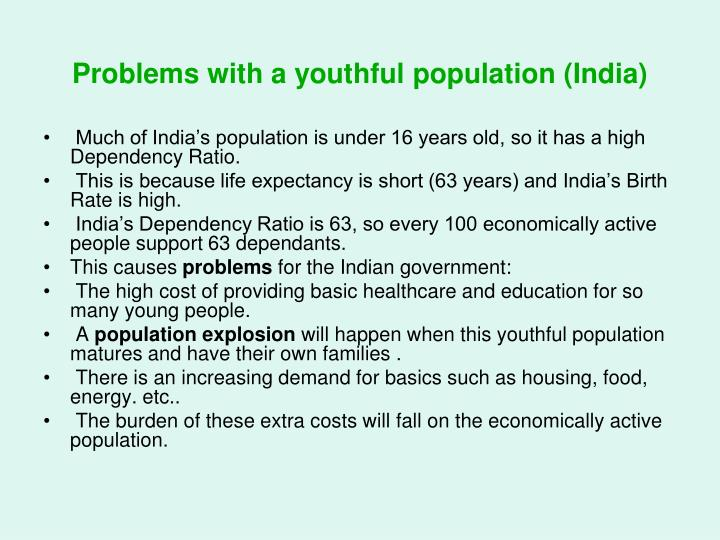 Problems with a youthful population (India)