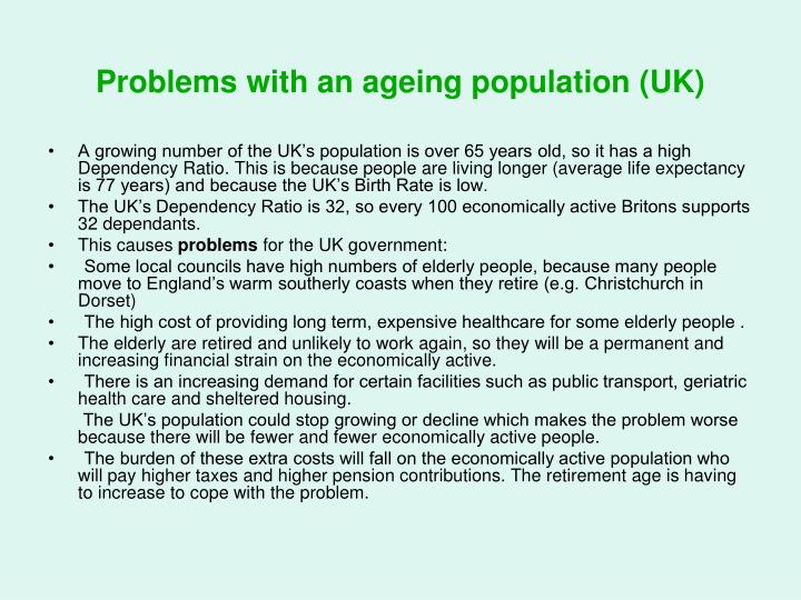 Problems with an ageing population (UK)
