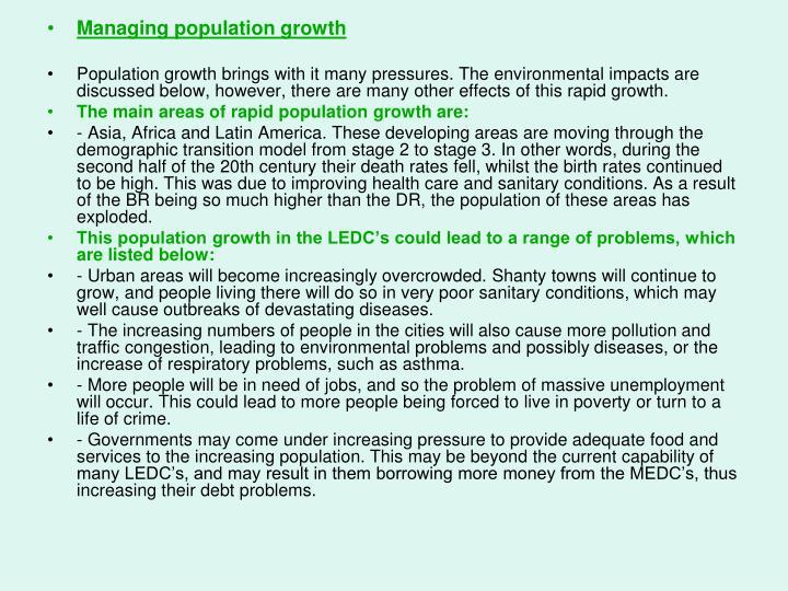 Managing population growth