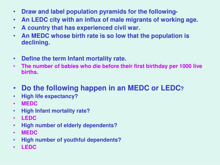 Draw and label population pyramids for the following-