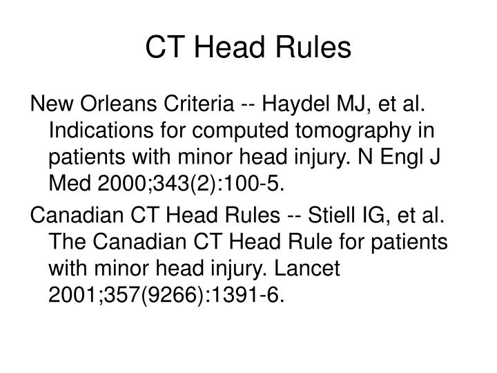 CT Head Rules