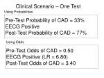 pre test probability of cad 33 eecg positive post test probability of cad 77