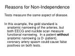reasons for non independence