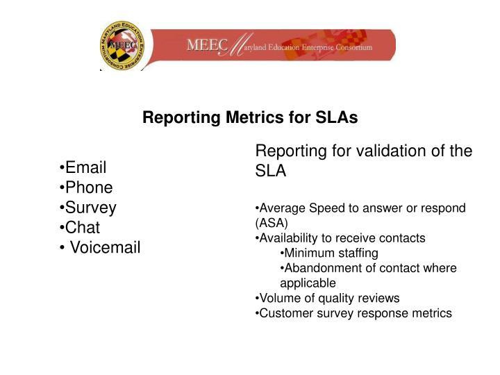 Reporting Metrics for SLAs