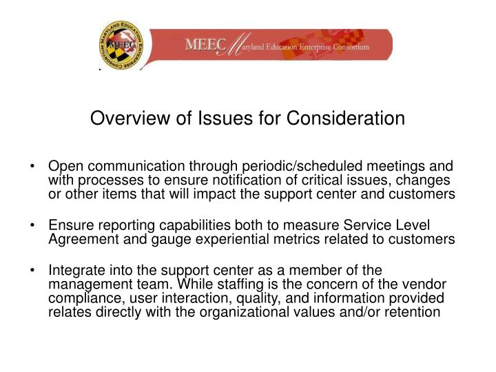 Overview of Issues for Consideration