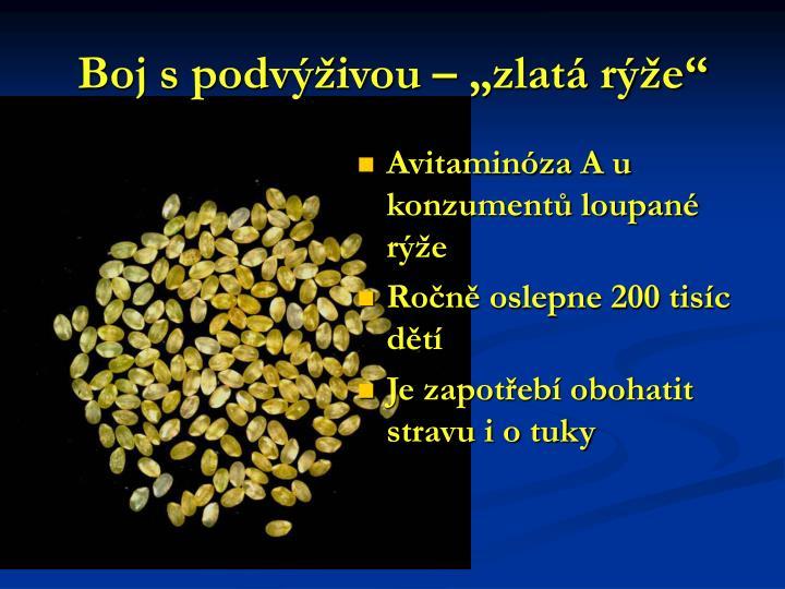 """Boj s podvýživou – """"zlatá rýže"""""""
