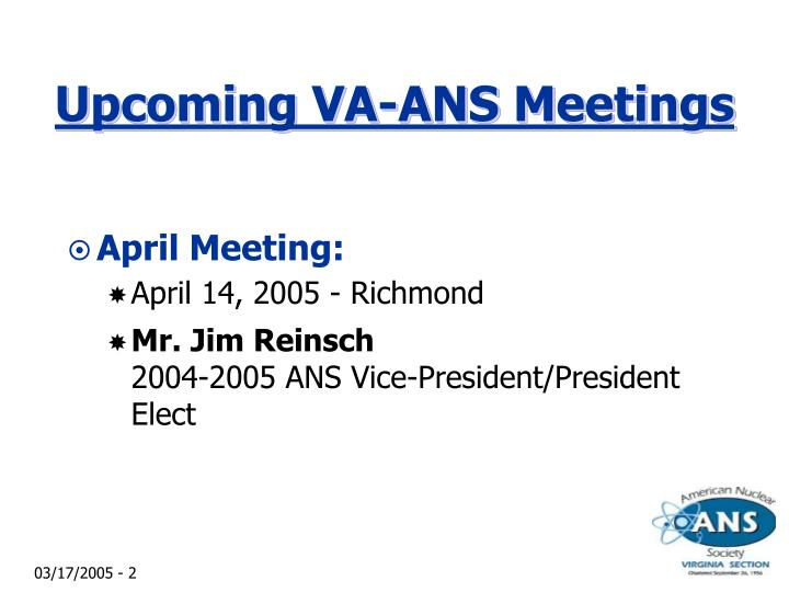 Upcoming va ans meetings