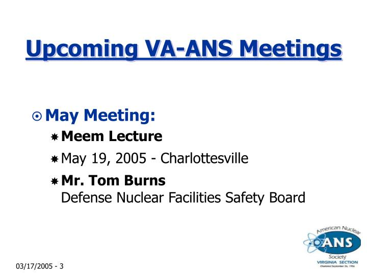 Upcoming va ans meetings1