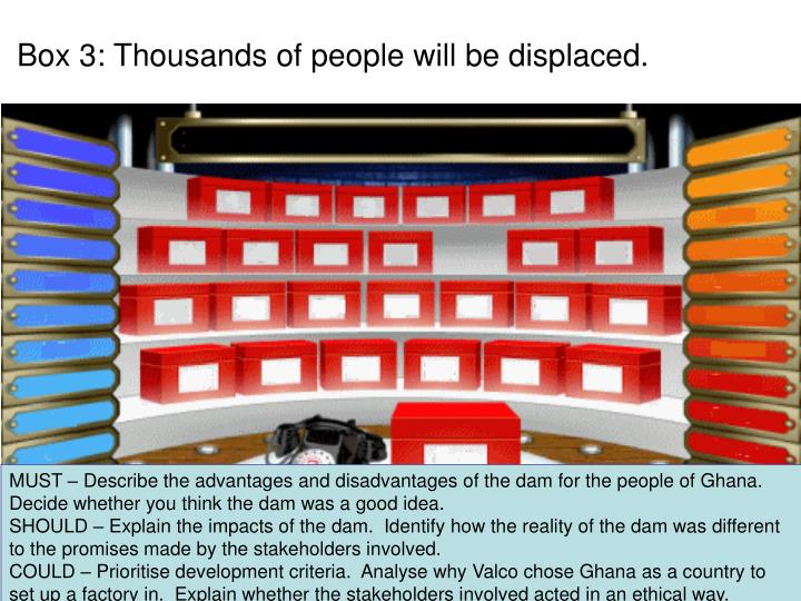 Box 3: Thousands of people will be displaced.