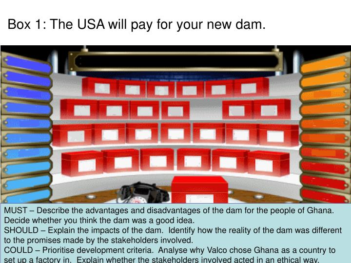 Box 1: The USA will pay for your new dam.