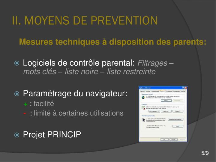 II. MOYENS DE PREVENTION