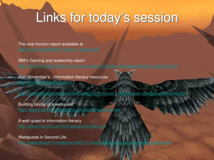 Links for today's session
