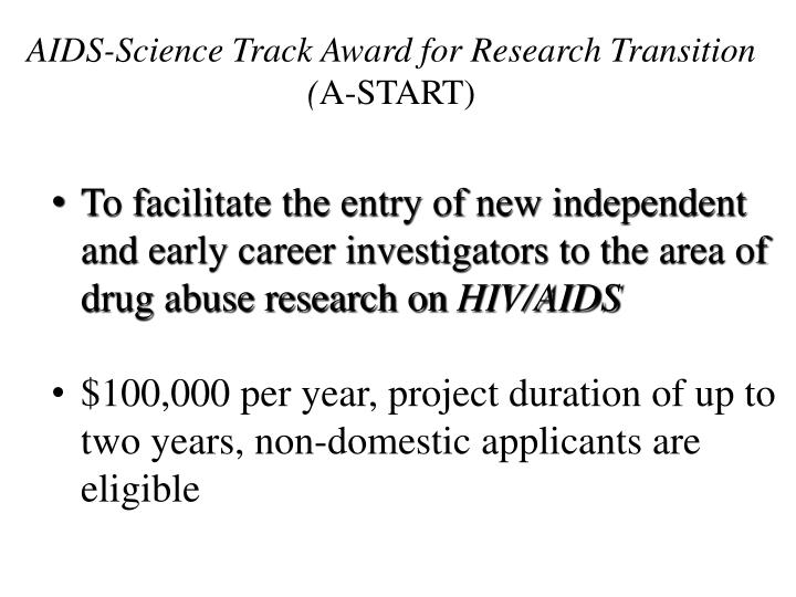 AIDS-Science Track Award for Research Transition