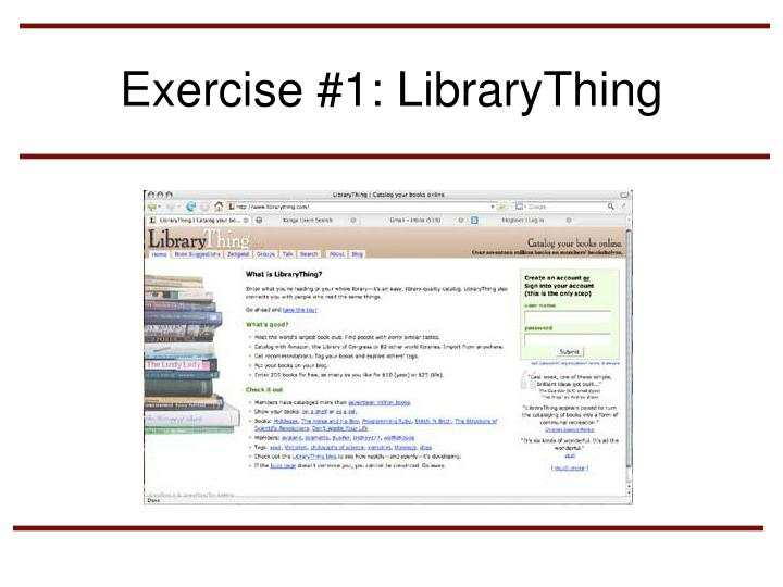 Exercise #1: LibraryThing