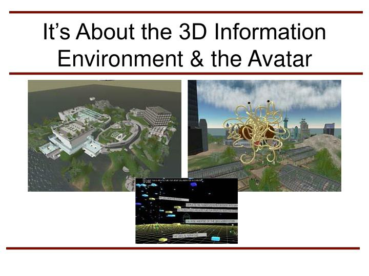 It's About the 3D Information Environment & the Avatar