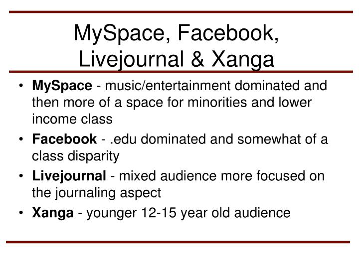 MySpace, Facebook, Livejournal & Xanga