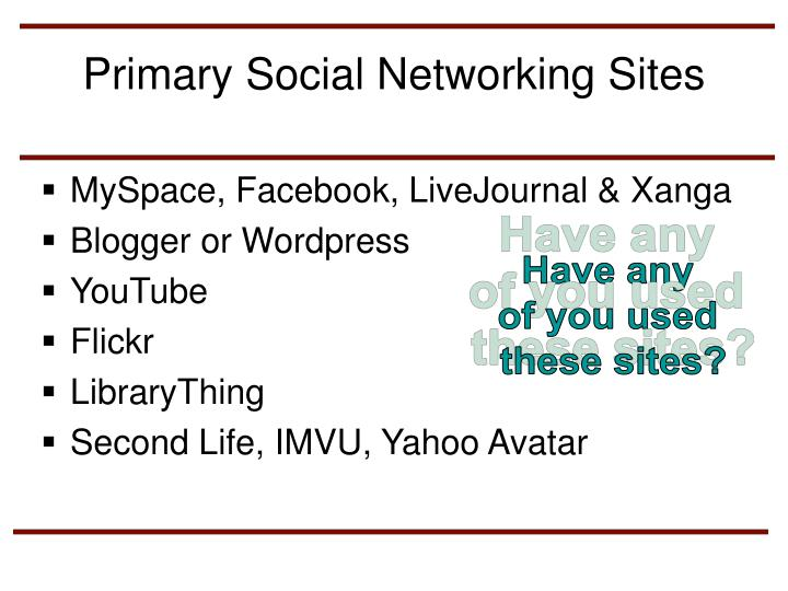Primary Social Networking Sites