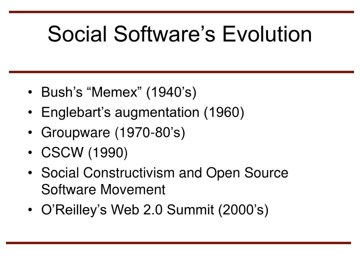 Social Software's Evolution